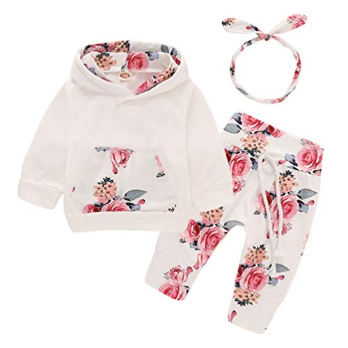 EDOTON Baby Mädchen Outfit 2 Stücke Set Gestreifte Blumen Hoodies mit Tasche Top + Lange Hosen Sweatshirt Outfit Kleidung (12-18 Monate, Blume)