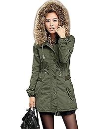 manteau femme à capuche fourrure parka femme Vert armée avec capuchon Poches Etiquette