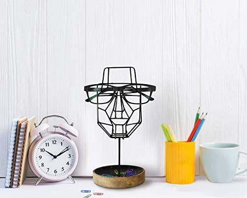 Handgefertigter Brillenhalter, Brillenständer - Spectacle holder Gesichtsskulptur aus Drahtgeflecht mit Aufbewahrungsfach (schwarz) Wohnkultur für ihn und ihre Männerfrauen entworfen