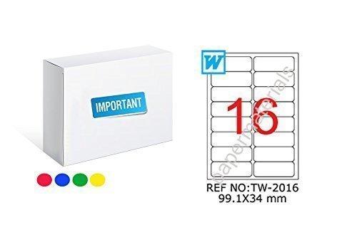 TANEX TW de 2016Farbige etiquetas verde 99,1x 34mm-redondeada de 25Bl. A4