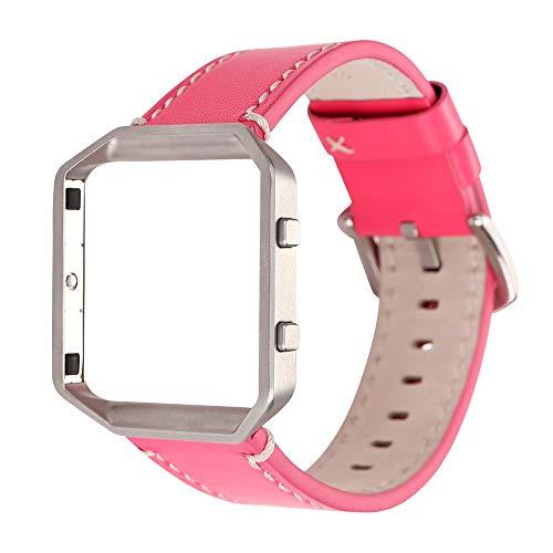 Yallylunn Solid Color Leather Watchband Wrist Strap & Metal Frame Den TäGlichen Verschleiß Bequem Unisex Wasserfest Gummi Uhrenarmband for Fitbit Blaze Watch
