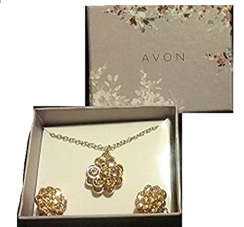 Avon Louisa Floral Necklace and Earring Gift Set