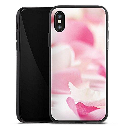 Apple iPhone X Silikon Hülle Case Schutzhülle Blütenblätter Blume Orchideenblätter Silikon Case schwarz