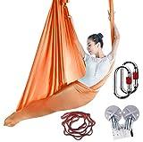 KIKIGOAL Aerial Yoga Une Ensemble Yoga Hamac Pour Pilates Danse Yoga Strap Yoga Anti-gravité Yoga Aerial Silks Aérienne Yoga (Orange)