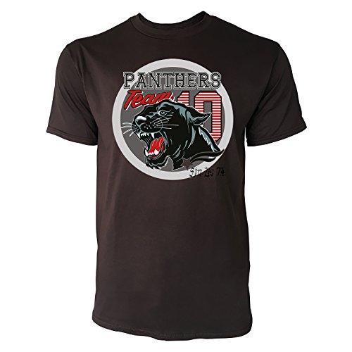 Sinus Art ® Herren T Shirt Panthers Team 10 ( Chocolate ) Crewneck Tee with Frontartwork (Crewneck Panther)
