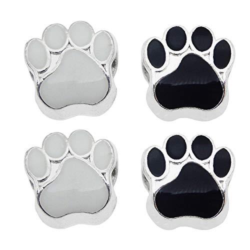 ed Cat Dog Paw Footprint Perlen für European Charm Armband Emaille 11x11mm Schwarz Weiß Großes Loch ()