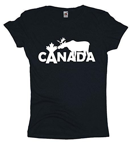 Ma2ca Canada | Elch Elk Damen T-Shirt | Kanada | Shirt-Black-l (Unisex Kanada T-shirt)
