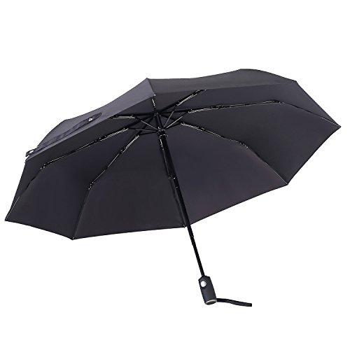 Winddicht Regenschirm,Leebotree Kompakt Reise/Outdoor Taschenschirm mit einhändiger Auf-Zu-Automatik, Schirmdurch aus robusten 210T Stoff, Teflon-Beschichtung, transportabel Stockschirme (schwarz)