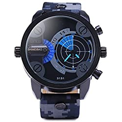 Beautiful Watches , Men'S Double Movement Radar Watches Military Camouflage Leather Strap Watch
