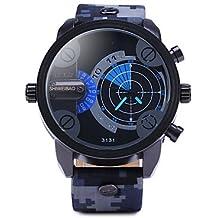Relojes Hermosos, Doble radar de movimiento de los hombres relojes camuflaje militar reloj correa de cuero ( Color : Azul , Talla : Una Talla )