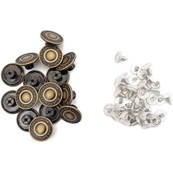 17mm Gun Metal with Stars Jeans Buttons Studs DIY Denim Jackets Coats Trousers
