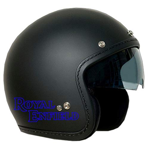 CASCO JET OLD ONE NERO SATINATO VISIERA FUME' LOGO ROYAL ENFIELD BLU XL