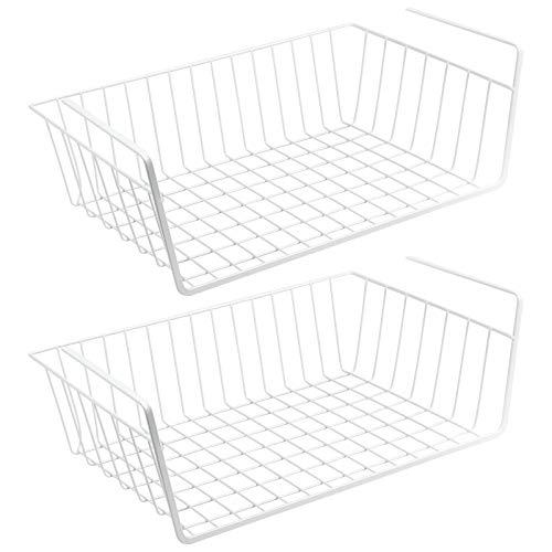 Wellgro 2er Set Schrankkörbe zum Einhängen aus Metall - ca. 41 x 26 x 15 cm (LxBxH) - schaffen Sie zusätzlichen Platz - weiß -