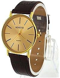 Reloj de hombre - MINGBO Dorado Hombre de Caballero Reloj de pulsera de banda de cuero de imitacion de hombre