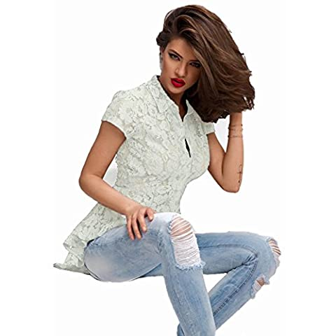Bling-Bling Mermaid Tail Floral Lace Shirt(White,M)
