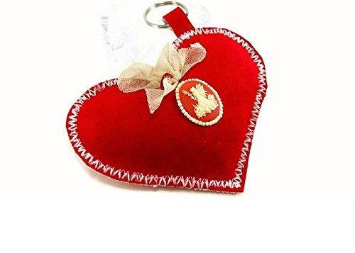 Portachiavi rosso a forma di un cuore/ Custodia per le chiavi in tessuto/ Decorazione con Cammeo