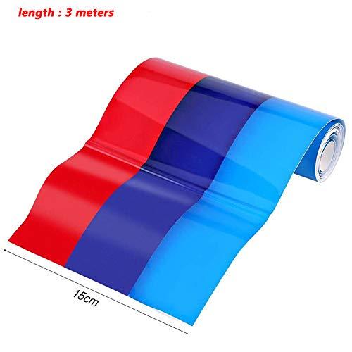 DishyKooker 3 Farben Streifen Auto Aufkleber Auto Cover Hood Decals Applique B-MW Farbe (3 Meter) -