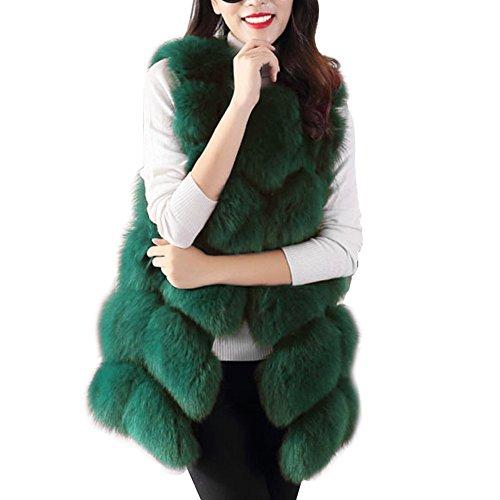 Femmes Manteaux Pour Faux Fourrure Gilet Élégant Sans Manches Long Gilet Chaud Manteau De Fourrure Fausse Fourrure Longue Fourrure Veste Hauts Outwear Veste Dhiver S-XXXXL Vert