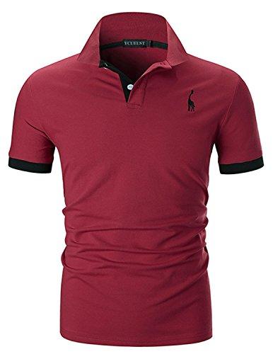 YCUEUST Nummer 3 Poloshirts Herren Kurzarm Kontrast Polohemd Polo Shirts Regular Fit Rot EU S (2-knopf-polo-shirt)