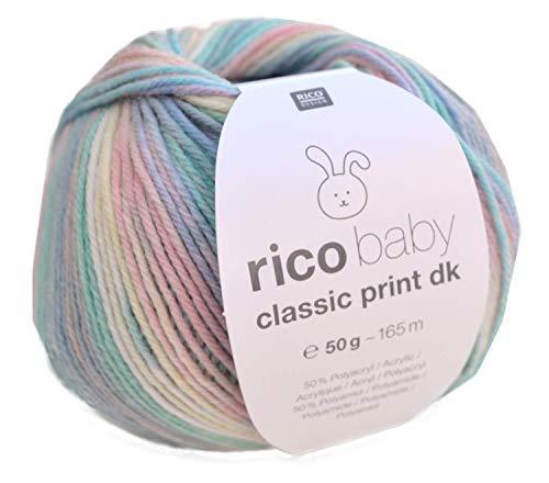 Rico Baby Classic Print DK, 50g Multicolor, weiche Babywolle zum Stricken und Häkeln -