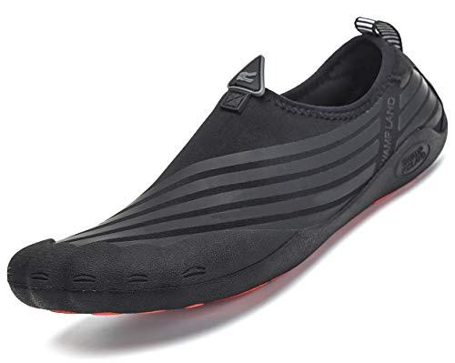 Pastaza Badeschuhe Damen Geschlossen Barfußschuhe Schnell Trocknend Wasserschuhe Rutschfest Weich Outdoor Fitness Schuhe Schwarz 45