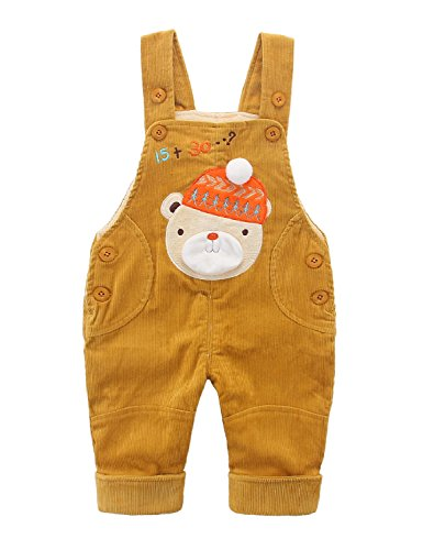 Kids Dungarees Yellow Corduroy Baby Boys Girls Overalls Toddler Jumpsuit Warm Thickened Trousers Pants Bear with Cap Pattern - 73
