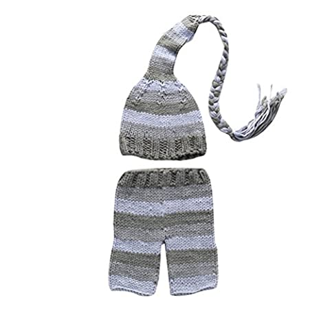 Zhhlaixing Infant Newborn Baby Girl Boy Crochet Knit Hat Pants Photography Props Outfits Costume XDT-361