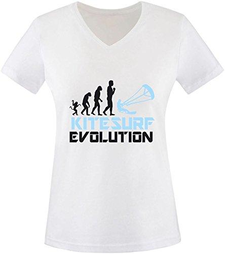EZYshirt® Kitesurf Evolution Damen V-Neck T-Shirt Weiss/Schwarz/Hellbl