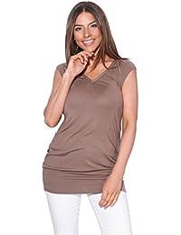 29e29a66b4d KRISP Mujer Camiseta Larga Básica Manga Corta Ancha Casual Escote