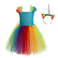 TENDYCOCO Girls Unicorn Costume Unicorn Horn Headband Layered Rainbow Tutu Dress for Kids Unicorn Party Dress 8-9Y (Rainbow Color)