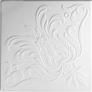 A la Maison Ceilings 898 The Wedding Present - Styrofoam Ceiling Tile (Package of 8 Tiles), Plain White