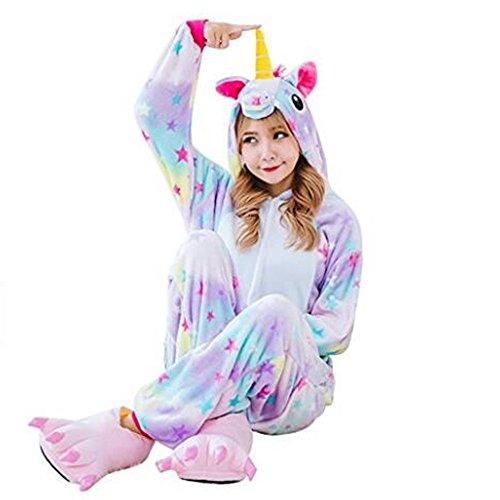 Süßes Einhorn Overalls Jumpsuits Pyjama Fleece Nachtwäsche Schlaflosigkeit Halloween Weihnachten Karneval Party Cosplay Kostüme für Unisex Kinder und Erwachsene (S, Stern Einhorn) - 5