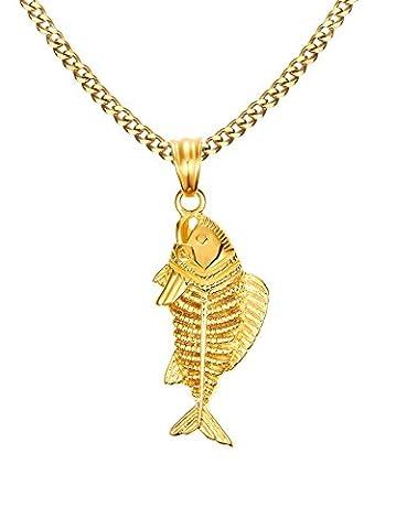 Vnox en acier inoxydable Fish Bone Pendentif Collier–Plaqué Or–61cm