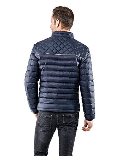 Vincenzo Boretti Herren Steppjacke slim-fit tailliert Übergangs-Jacke leicht dünn weich warm gefüttert für Frühling Herbst modern elegant - ein Style für Business und Freizeit Dunkelblau/Weiß