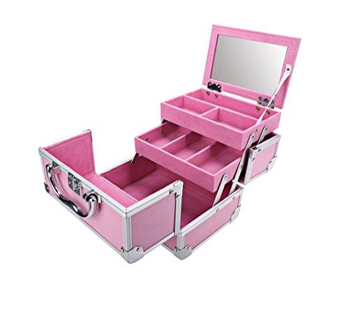 Mini Make-up-Tasche für Make-up und Kosmetik mit Spiegel–Tragbar ausziehbar KOMPAKT–Travel Beauty Case (Tasche Make-up Erweiterbar)