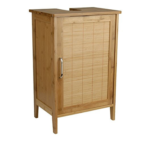Waschtischunterschrank Bambus braun 27 x 40 x 60 cm | Aussparung für Siphon | verstellbarer Einlegeboden