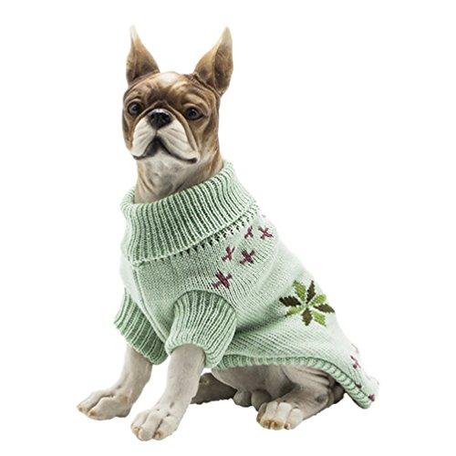YiJee Kleine Hundchen Atmungsaktiv Gestrickte Pullover Haustier Hund Halloween Warme Kleidung Hell Grün M (Grün Seine Halloween Im)
