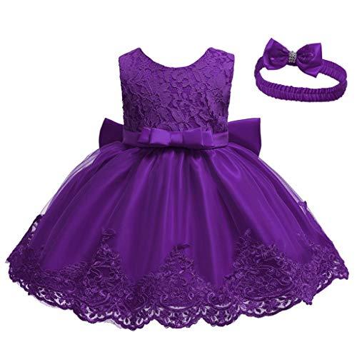 INLLADDY Baby Mädchen Prinzessin Kleid 2tlg Set Bowknot Spitze Taufkleid Festlich Kleid Hochzeit Party Festzug Taufe Tutu Kleid 0-82 Jahre Violett1 3-6Monate