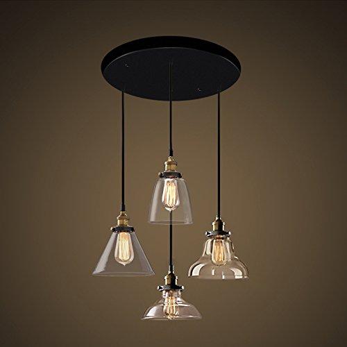 Luckyfree Kreative Modern Fashion Anhänger Leuchten Deckenleuchte Kronleuchter Schlafzimmer Wohnzimmer Küche, Festplatte 4 teiliges Set Lichtquelle