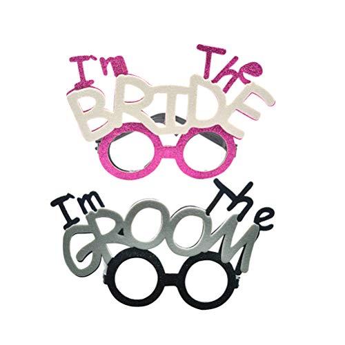 Bräutigam Hochzeit Kostüm - BESTOYARD 2 stücke Ich Bin Die Braut Party Brille Lustige Brillen Ich Bin Der Bräutigam für Hochzeit Hen Party Brautdusche Kostüm Brille Requisiten (Braut + Bräutigam)