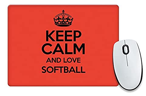 RED Keep Calm and Love Softball Mouse
