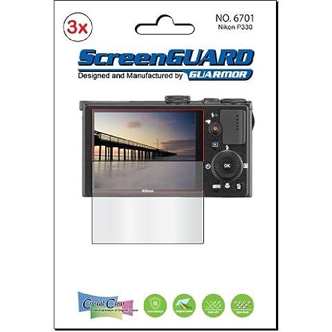 Kits de 3x Nikon Coolpix P330–Protector de pantalla transparente para pantalla LCD de cámara digital, EXACT Fit, No De Corte (3piezas por el