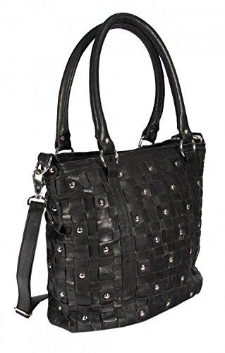 Navarro - Leder Shopper Schultertasche mit Nieten Studed Vintage URBAN BAG Washed Damen Handtaschen 45x31x16 cm (B x H x T), Farbe:schwarz schwarz