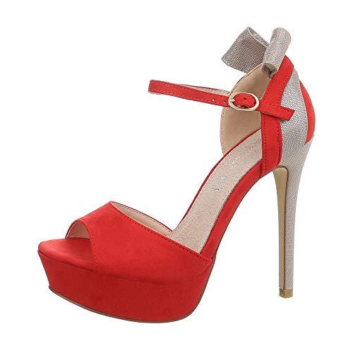 Ital-Design - Zapatilla Alta de Sintético Mujer, Color Rojo, Talla 40 EU