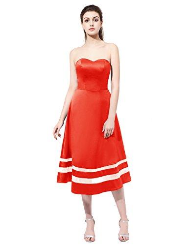 Dresstells Robe de soirée en satin bustier en cœur longueur mollet Rouge