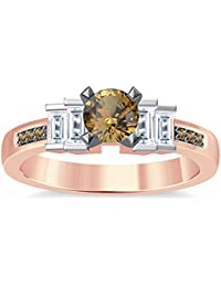 Silvernshine 1.35Ct Round & Buget Cut Citrine Sim Dimoands 14K Rose Gold Plated Engagement Ring