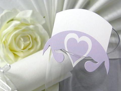 10x Tischkarten Hochzeit EinsSein® Herz Blatt flieder Hochzeit, Tischkarten, Platzkarten, Namenskarten, Herz Schmetterling Stuhl Rosen Ringe
