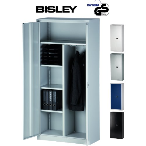 BISLEY Aktenschrank | Garderobenschrank | Kleiderschrank aus Metall abschließbar | Stahlschrank ist TüV / GS geprüft | in 4 Farben