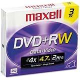 DVD RW Discs 4.7GB 4x w/Jewel Cases Silver 3/Pack DVD RW Discs, 4.7GB, 4x, w/Jewel Cases, Silver, 3/Pack