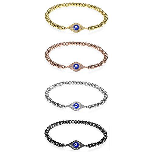 JewelryWe Schmuck 4pcs Damen Charm Armband, Elegant Zirkonia Evil Eye Blaue Böse Auge Nazar Boncuk Perlenarmband Armkette Armreif, 4